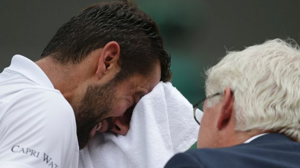 Croatia's Marin Cilic was overwhelmed by emotion during the Wimbledon men's final against Roger Federer.