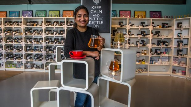 Nasreen Palekar in the Mitchell Adore Tea shop and teahouse.