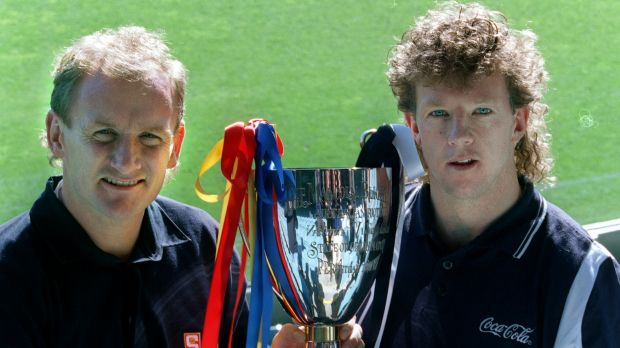 Blast from the past: State of Origin captains Craig Bradley (SA) and Gary Hocking (Vic).