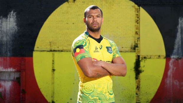 Proud: Kurtley Beale poses during the Wallabies Indigenous jersey launch at the National Centre of Indigenous Excellence.