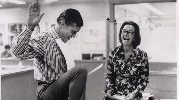 Katharine Graham with Ben Bradlee in 1971, celebrating the US Supreme Court decision to allow the Washington Post to ...