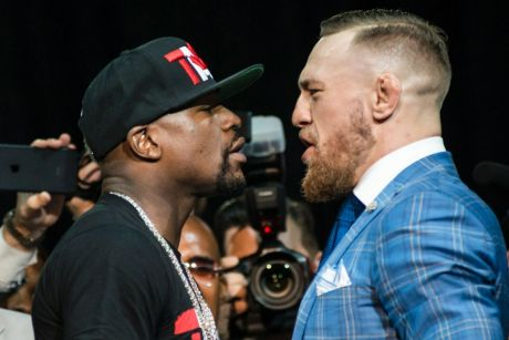 Face-off: Floyd Mayweather and Conor McGregor stare each other down.