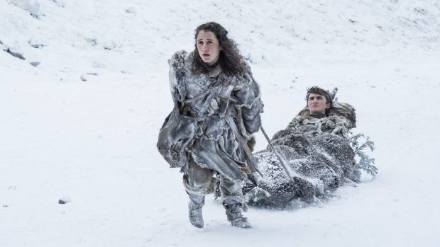 Breaking the ice:  Bran Stark (Isaac Hempstead Wright) and Meera Reed (Ellie Kendrick) make a brief appearance in Game ...