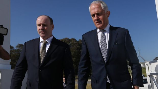 Prime Minister Malcolm Turnbull with new Defence boss Greg Moriarty.