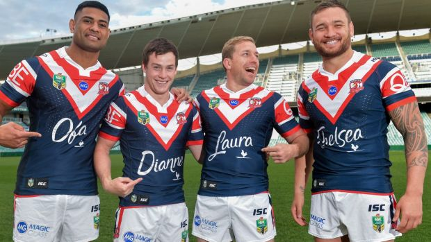 Roosters players Daniel Tupou, Luke Keary, Mitchell Aubusson and Jared Waerea-Hargreaves sporting the jerseys dedicated ...