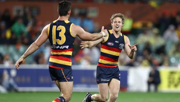 ADELAIDE, AUSTRALIA - JULY 07: Rory Sloane of the Crows celebrates a goal during the round 16 AFL match between the ...