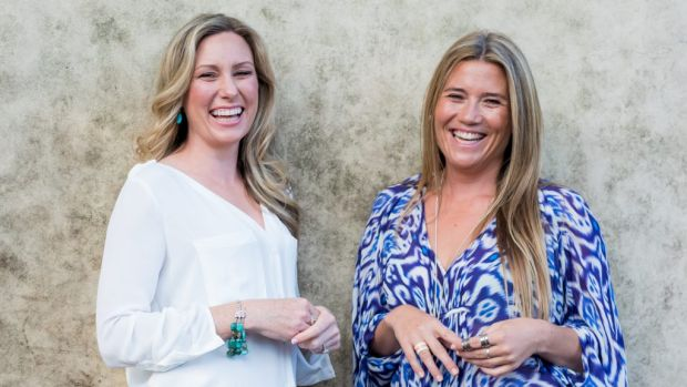 Justine Damond (left) with friend Eloise King. The pair ran mentoring workshops together through Soul Sessions in Sydney.