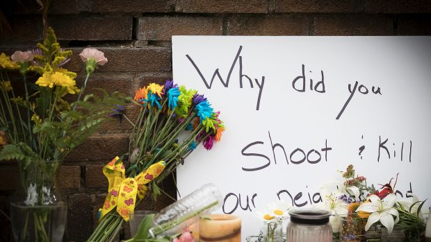 A makeshift memorial at the scene of the shooting in Minneapolis.