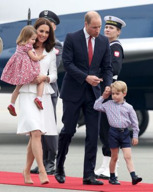 Catherine, Duchess of Cambridge, Prince William, Duke of Cambridge, and their children Princess Charlotte and Prince ...