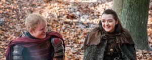 Ed Sheeran, left, and Maisie Williams in a scene from Game of Thrones. Sheeran appeared as a Lannister soldier leading a ...