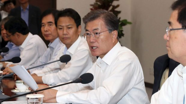 South Korean President Moon Jae-in, second from right, offered to hold talks at the tense border separating the two Koreas.