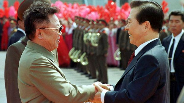Then North Korean leader Kim Jong-il, left, and then South Korean President Kim Dae-jung shake hands in Pyongyang in 2000.
