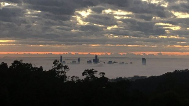 Fog covers Brisbane CBD, as seen from Mount Coot-tha.