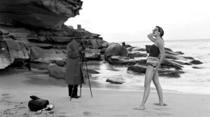 Miss Hedda Banco models swimwear at Tamarama Beach in Sydney's east on 6 June 1956. SMH NEWS Picture by HUGH ROSS Winter ...