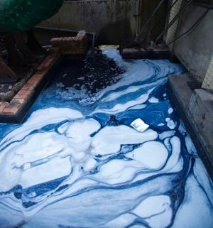The wastewater of a jeans factory in Xingtang, Zengcheng, in China.