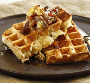 Jill Dupleix's buttermilk waffles with maple-bacon butter.