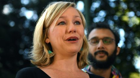 Larissa Waters announcing her resignation in Brisbane on Tuesday.