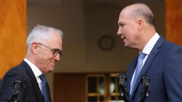 Prime Minister Malcolm Turnbull on Tuesday with Immigration Minister Peter Dutton, who will take on the Home Affairs ...