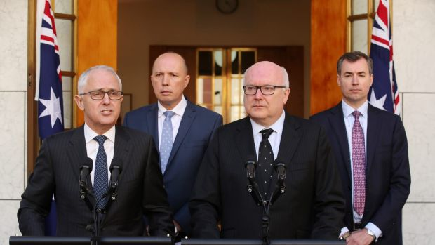 Prime Minister Malcolm Turnbull announced Peter Dutton, second from left, will become the Minister for Home Affairs.