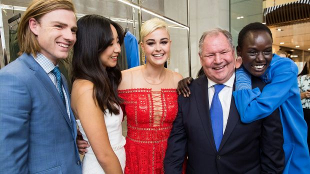 Celebrating Melbourne fashion ... Lord Mayor Robert Doyle (second from right) with the faces of Melbourne Fashion Week ...