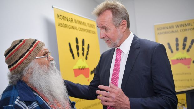 Federal Minister for Indigenous Affairs, Nigel Scullion, speaks to Local Elder Uncle Moogi at the Kornar Winmil Yunti ...