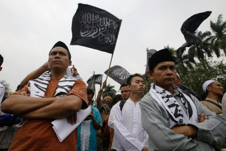 Indonesian Muslims gather during a rally in Jakarta on Tuesday.