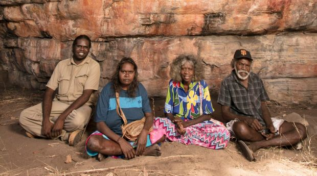 Traditional owners Simon Mudjandi, Rosie Mudjandi, May Nango and Mark Djanjomerr at the rock shelter.
