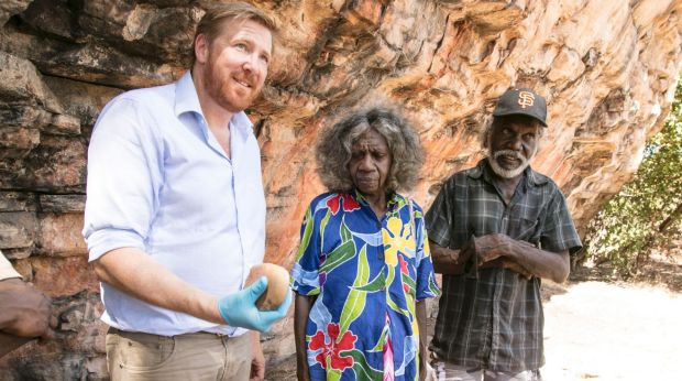 Associate Professor Chris Clarkson with traditional owners May Nango and Mark Djanjomerr.
