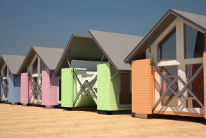 Ten Fold has also slated designs for folding beach huts in bright colours.