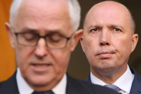 Malcolm Turnbull and Peter Dutton at the announcement of the new mega-department which appears as if it will, ...