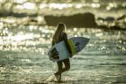 "Winter Surf at Ulladulla/Mollymook, NSW.? Surfers take to the water mid-winter at ""Golf course reef"". Sophia Fulton, 15."