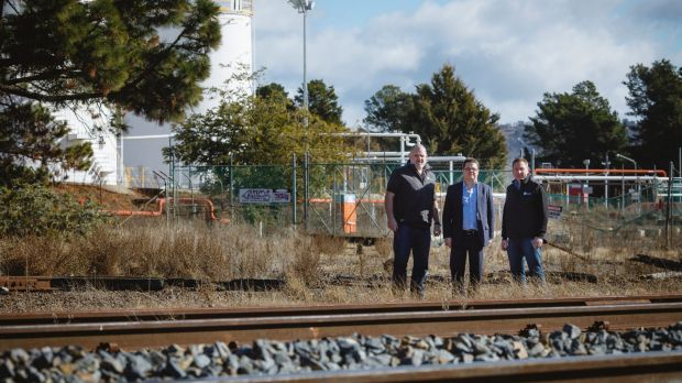 Project manager Ewen McKenzie, Dean Ward from ActewAGL, and Director of Capital Recycling Solutions Adam Perry at the ...