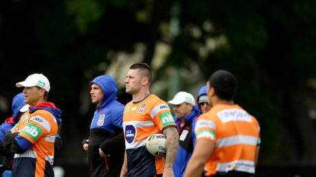 Knight shift: Shaun Kenny-Dowall trains with his Newcastle teammates.