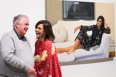 Former head packer, Steve Peters, with Lisa Wilkinson and Peter Smeeth's painting which won the Packing Room Prize at ...