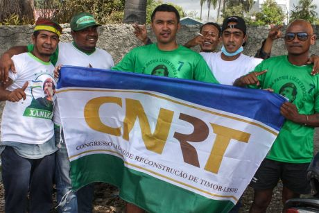 Supporters of the CNRT party ahead of East Timor's parliamentary elections.