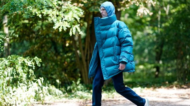 Is this man hiking in the Bavarian forest? No, he's on his way to the Balenciaga show at Paris Fashion Week.