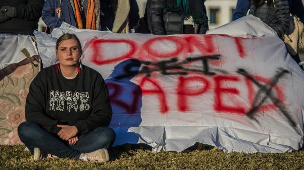 Female students protested in front of federal Parliament earlier this month urging a tougher response to sexual assault ...