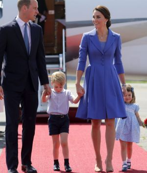 Prince William and Kate, the Duchess of Cambridge arrive in Berlin with their children Prince George and Princess ...