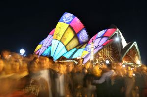 Crowds filter through the city during the 2016 Vivid Sydney Festival.