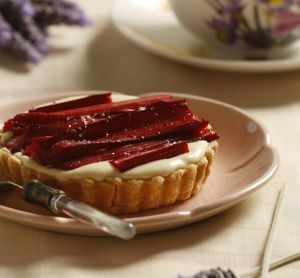 Rhubarb and lavender cream tart by Jeremy and Jane Strode.