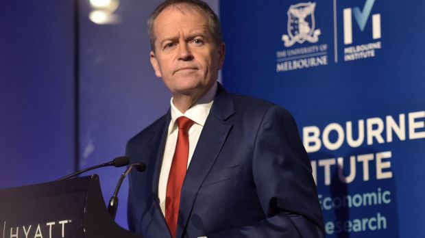 """Opposition Leader Bill Shorten's message at the Melbourne Institute was distorted through a """"blue-collar worker"""" lens, ..."""