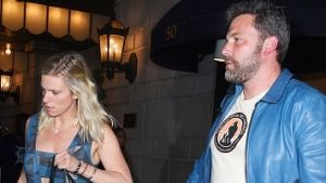 NEW YORK - JULY 19: Ben Affleck and Lindsay Shookus are seen leaving the Ritz-Carlton Hotel in Mid-Town Manhattan on ...