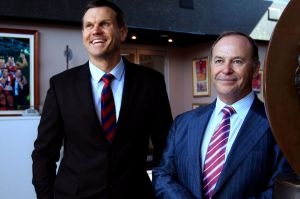 White Knights: Newcastle director Paul Harragon with Wests Group CEO Phil Gardner at the club's HQ.