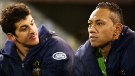 CANBERRA, AUSTRALIA - JULY 21: Christian Lealiifano of the Brumbies watches from the bench during the Super Rugby ...