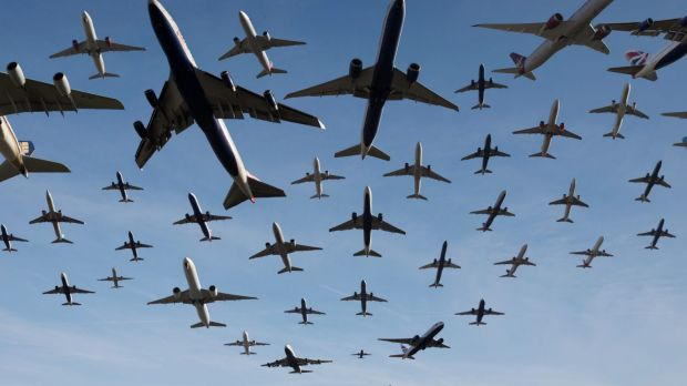 A composite photo captures planes taking off from Heathrow Airport. As many as 42 planes take off from Heathrow every hour.