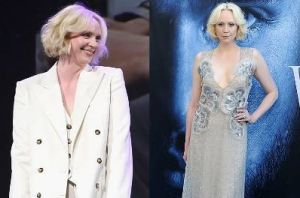 Gwendoline Christie is the most elegant of white walkers this week in both a sassy oversized Bella Freud suit and an ...