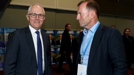 Prime Minister Malcolm Turnbull and Tony Abbott speak during the NSW Liberal Party Futures conference at Rosehill ...