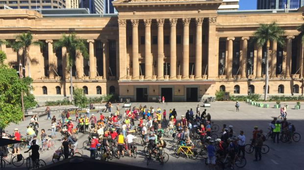 The pedal-powered protesters then gathered outside City Hall, where they made plans to do a similar demonstration during ...