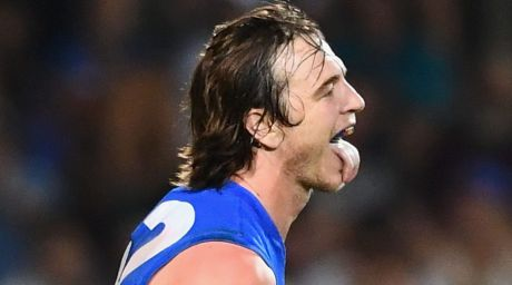 Lap it up: Bulldog Liam Picken celebrates a goal against the Suns.