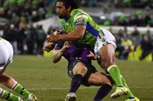 Knockout blow: Sia Soliola takes out Billy Slater, ending the Storm star's evening.